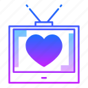 device, love, screen, show, television, tv, valentines day icon