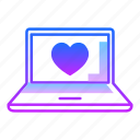 computer, device, laptop, love, monitor, screen, valentines day icon