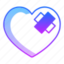 bandage, care, healing, hurt, injury, love, valentines day icon