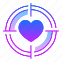 goal, love, purpose, shoot, spot, target, valentines day icon