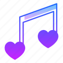 love, music, note, sing, song, tune, valentines day icon