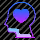 brain, head, idea, insight, intelligence, love, valentines day icon
