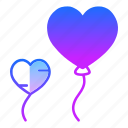air, balloon, fly, hearts, love, marriage, valentines day icon