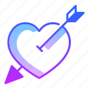 arrow, choice, cupid, love, purpose, shoot, valentines day icon