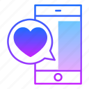 chat, comment, love, message, smartphone, speech, valentines day