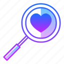 analyst, love, magnifying, research, review, search, valentines day icon