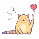 balloon, cat, love, valentine, valentines day icon