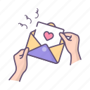 letter, love, message, valentines, valentines day icon