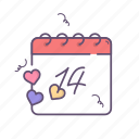 calendar, day, february, valentines, valentines day icon