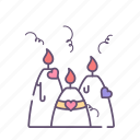 candle, love, romantic, valentine, valentines day icon