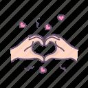 hads, heart, love, valentine icon