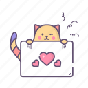card, cat, heart, love, valentine icon