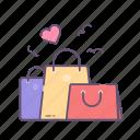love, presents, shopping, valentine, valentines day icon