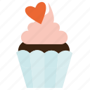 cupcake, dessert, sweet, valentine's day icon