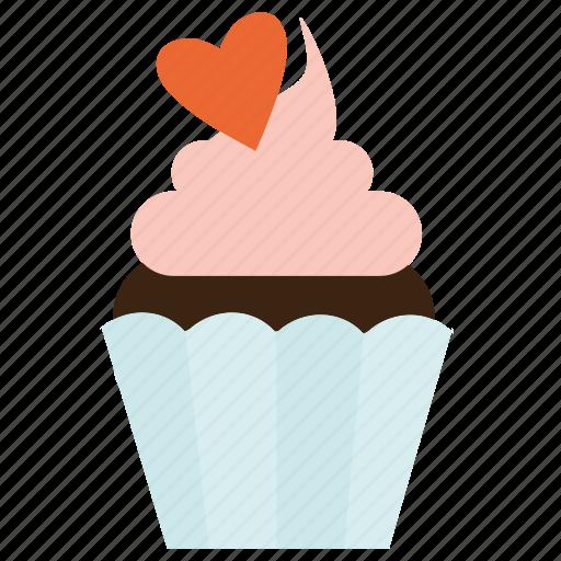 cupcake, dessert, sweet, valentine's day icon