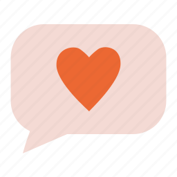 bubble, chat, like, love, message, valentine's day icon