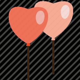 balloons, heart, love, romance, valentine, valentine's day, valentines icon