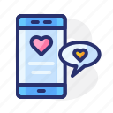 chat, heart, love, pink, red, smarphone, valentine