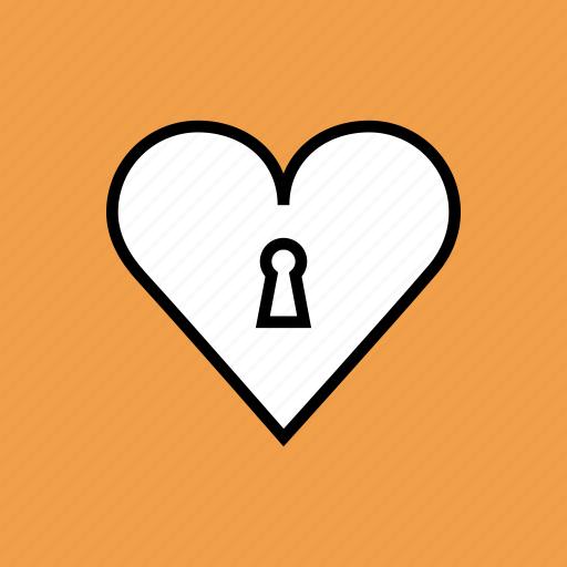 heart, keyhole, lock, love, romance, valentines icon