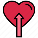 arrow, like, love, up, valentine's day icon
