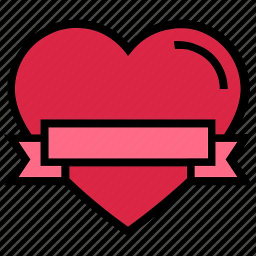 banner, celebration, heart, love, ribbon, valentine's day icon