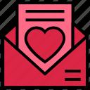 email, envelope, favorite, heart, love letter, open envelope, valentine's day icon