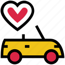 car, couple car, heart, love, romance, traveling, valentine's day icon