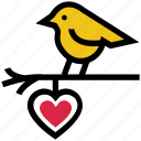 bird, bird and heart, glowing dove, heart, love bird, valentine's day icon
