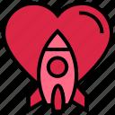 heart, love, rocket, spaceship, travel, valentine's day icon