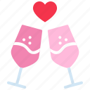 celebration, cheers, glass, heart, love, party, valentines day icon