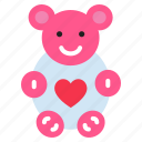celebration, doll, gift, heart, love, teddy bear icon