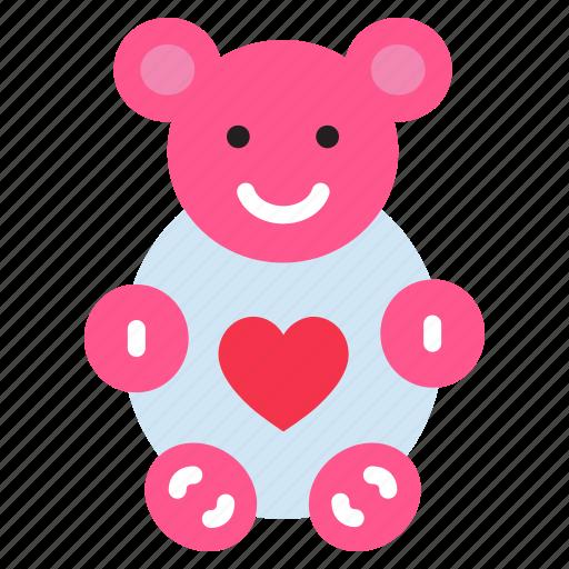 celebration, doll, gift, heart, love, teddy bear icon