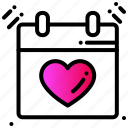 calendar, event, heart, love, party, valentines day icon