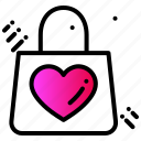 gift, hand bag, heart, love, purchase, shopping icon
