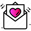 celebration, email, greetings, heart, letter, love icon