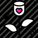 affection, flower, gift, heart, love, rose icon