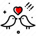 bird, couple, heart, love, marriage, valentines day, wedding icon