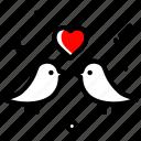 bird, couple, heart, love, marriage, valentines day, wedding