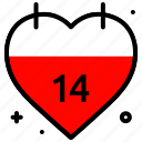 calendar, celebration, event, heart, love, valentines day icon