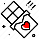 bar, celebration, chocolate, heart, love, valentines day icon