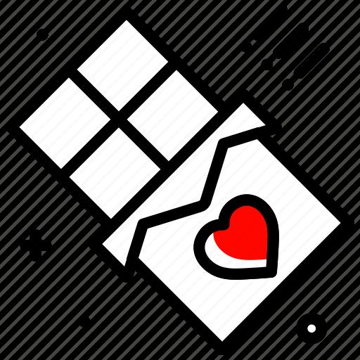 bar, celebration, chocolate, heart, love, valentines day icon