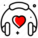 favorite, headset, heart, love songs, music, valentines day icon