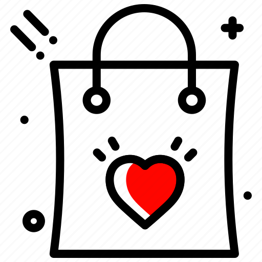 bag, discount, heart, love, purchase, shopping, valentines day icon