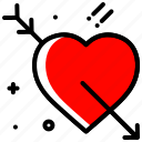 arrow, heart, love, proposal, valentines day, wedding icon