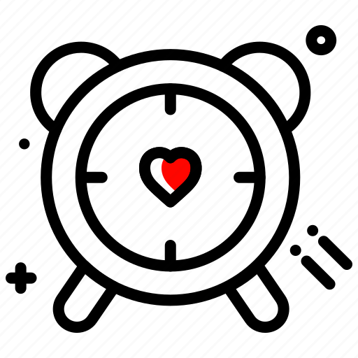 clock, gift, heart, schedule, time, valentines day icon