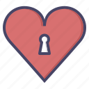 heart, keyhole, lock, love, romance, valentines icon