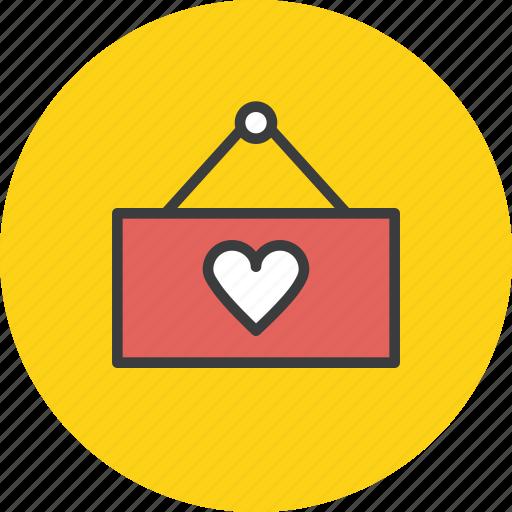 board, easel, hanger, heart, love, shop, valentines icon
