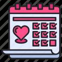 calendar, date, event, heart, love, schedule, valentine day