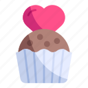 cake, cup, dessert, food, love, muffin, valentine