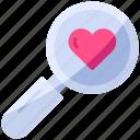 find, love, magnifier, romance, search, valentine, zoom